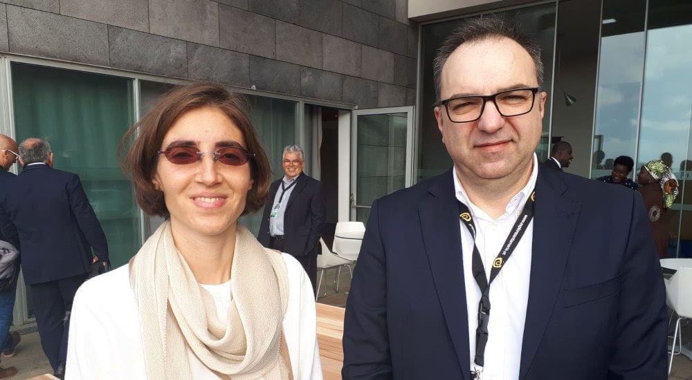 Chiara Manfletti, presidenta de Portugal Space, y Fernando Lucena, CMO de Alén Space, en la New Space Atlantic Summit 2019