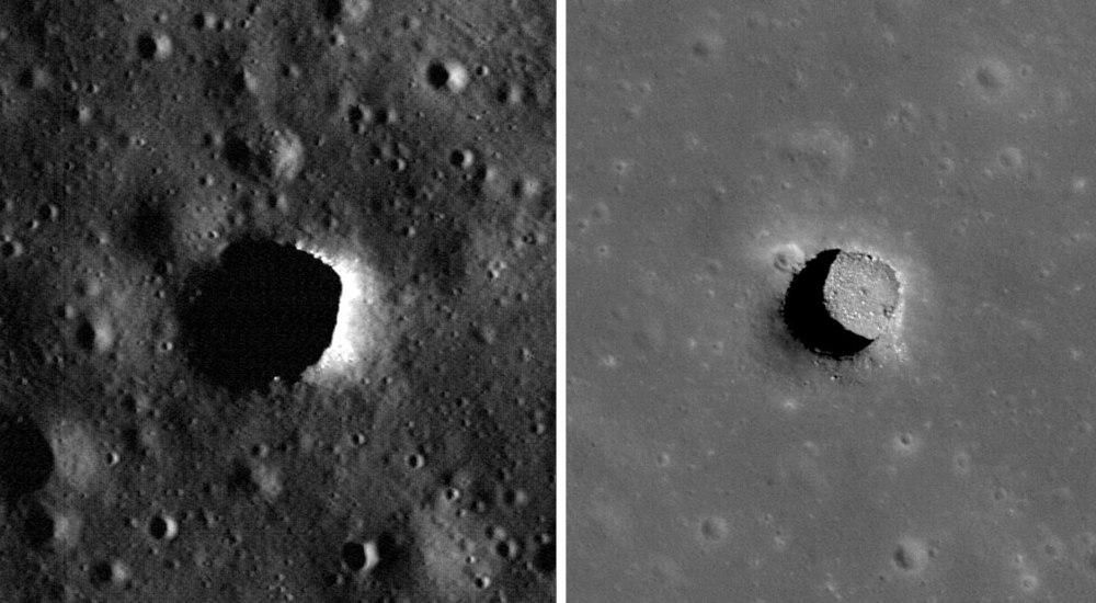 Marius Hills pit imaged by NASA's Lunar Reconnaissance Orbiter