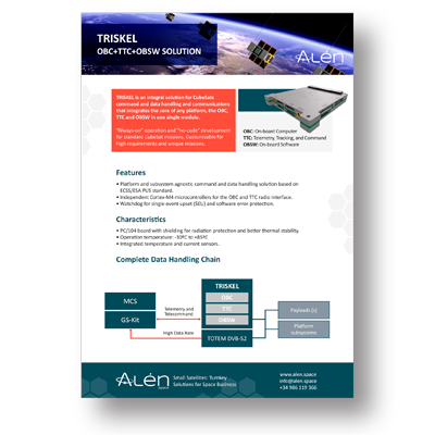 Brochure of TRISKEL: OBC + TTC + OBSW Solution for Command and Data Handling